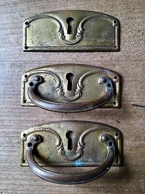 Antique Set Drawer Pull Handles Door Cupboard Brass Reclaimed French Vintage
