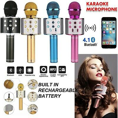Boxed Wireless Bluetooth Karaoke Microphone Speaker Handheld Mic USB Player KTV