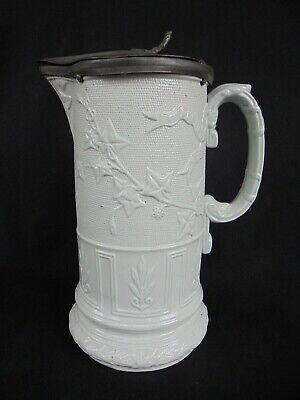 Antique Relief Moulded Stoneware Jug With Pewter Lid