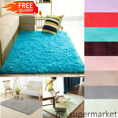 Fluffy Rugs Anti-Skid Shaggy Rug Dining Room Carpet Warm Floor Mats Home Bedroom