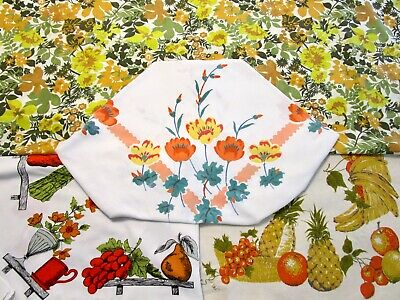 Vintage Tablecloth Lot 4 Floral Print Bouquet Yellow Orange Cutter ? 50S
