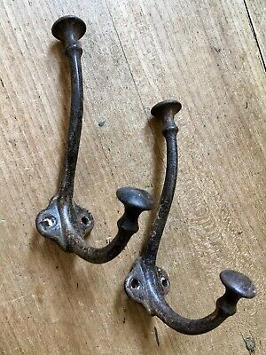 Pair Antique Coat Hooks Early French Cast Iron Vintage Original Old Reclaimed