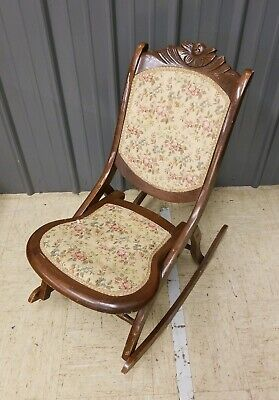Vintage Covered Wooden Folding Rocker Rocking Chair Tapestry Victorian