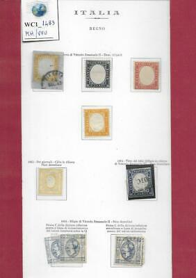 WC1_1483  ITALY. EARLY KINGDOM. Lot of 1861-63 stamps on album page. MH/Used