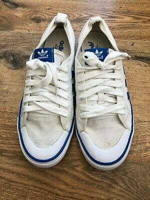 adidas nizza trainers skate shoe White high top blue stripe