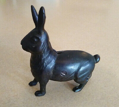 Vintage HUBLEY Large Rabbit Standing CAST IRON Still Bank RARE