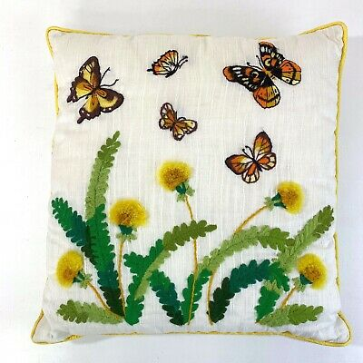 "Vtg Bucilla Completed FINISHED Pillow CREWEL Embroidery Butterflies 16"" Square"