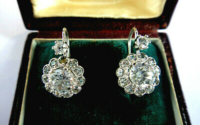 Vintage European Sterling Silver Cluster Crystal/Spinel Earrings