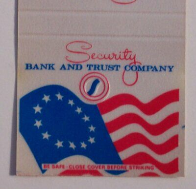 1980s Security Bank US Flag Mountainhome PA Monroe Co Matchbook Pennsylvania