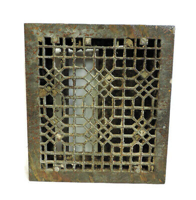 Antique Cast Iron Heating Grate Vent Register Ornate Design 18.25 X 16.25