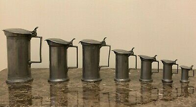 Antique French 18th Century Set of 7 Graduated Pewter Measuring Pitchers
