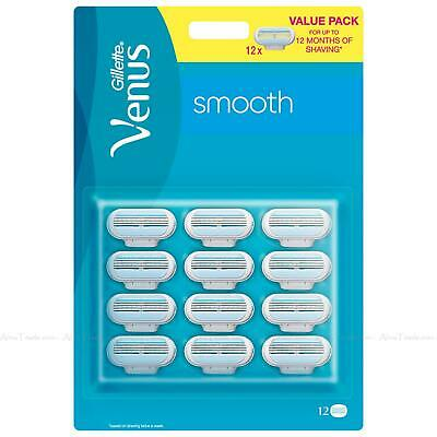Gillette Venus Smooth Shave Razor Replacement Cartridges 12 Refill Blades Pack