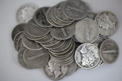 Roll of Mercury Dimes 90% Silver Readable Dates 5$ Face Value 50 Coins