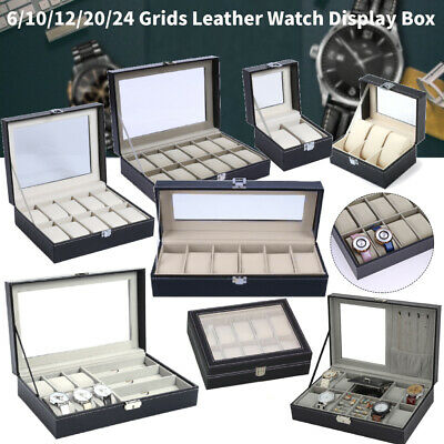 6/9/10/12 Grids Watch Display Case PU Leather Jewelry Storage Box Organizer