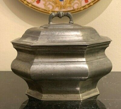 Exceptional Antique European Octagonal Lidded Pewter Bowl