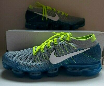 "Nike Air VaporMax Flyknit ""Sprite"" 849558-022 Grey White Blue Men's Shoes Sz 11"