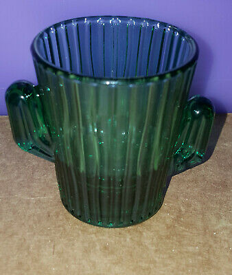 Unusual Collectible LIBBEY'S Teal / Green Sajuaro Cactus Shaped Shot Glass