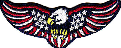 22046 American Flag USA Stars Stripes Badge Patriotic Iron On Patch Set of 2