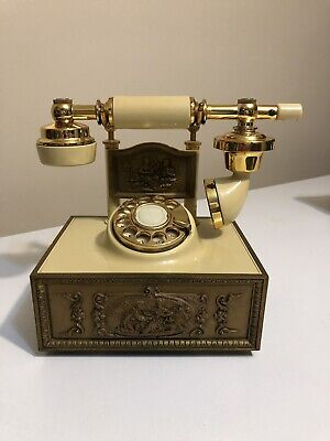 Vintage Western Electric French Style Rotary Dial Telephone Gold Almond Cream