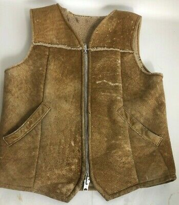✰ RUSTIC! The SHEEP SHACK ✰ SHEARLING SHEEPSKIN FUR Leather VEST Vintage M USA