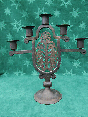 Vintage Hand Forged Iron Arts & Craft 5 Lite Candelabra German Likely Goberg