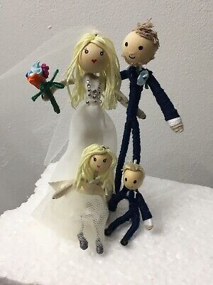 BRIDE and GROOM and KIDS family cake topper, wedding, personalised, customised