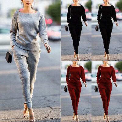 2Pcs Women Casual Tracksuit Sweatshirt Pant Set Lady Sportwear Suit Jogging USA