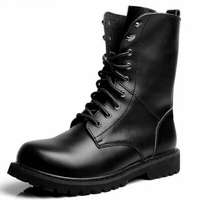 US Men Genuine Leather Combat Ankle Boots Lace up Military Army Outdoor Shoes