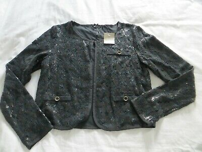 BNWT Girls NEXT Black Sequin Cropped Jacket Age 14 yrs