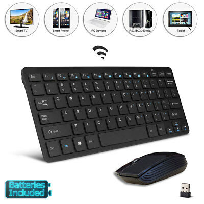 """Wireless Black Mini Keyboard and Mouse for JVCLT-32C691 32"""" SMART TV"""