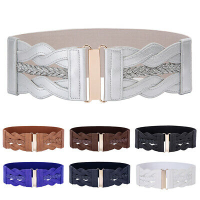 FASHION Women Girl  Wide Elastic Stretch Cinch Waistband High Waist Dress Belt