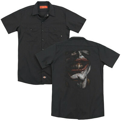 Batman Joker SMILE OF EVIL Licensed Adult Dickies Work Shirt All Sizes