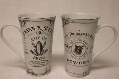 222 Fifth Hallow Apothecary Frog & Wolf Halloween Latte Mugs - Black/White - S/2