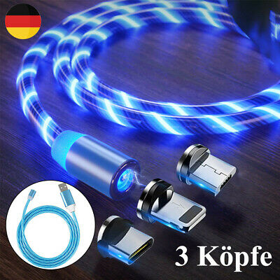 3 IN 1 Streamer LED Magnetisches USB Ladekabel Micro USB Typ-C Lightning 1M 2,0A