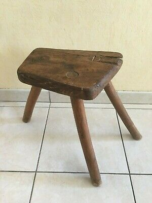 Old Antique Primitive Wooden Wood Farmhouse Milking Stool Chair Tripod 19th