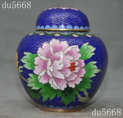 old Chinese bronze Cloisonne peony flower Swallows bird rouge Storage box Boxes