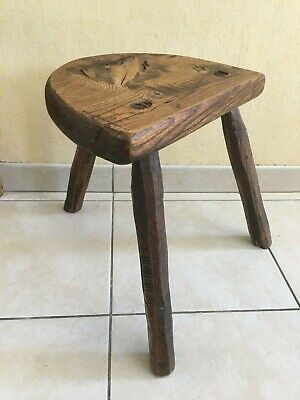 Solide Antique Primitive oak Wood Farmhouse Milking Stool Chair Tripod 19th