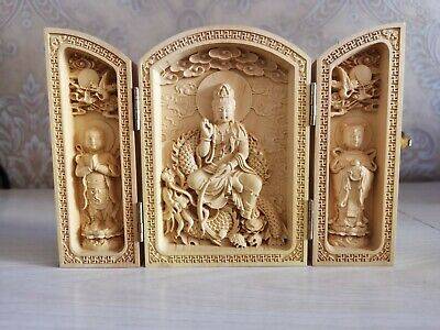 China Collectable Handmade Carving Boxwood Bow Down Efficacy Bodhisattva Statue