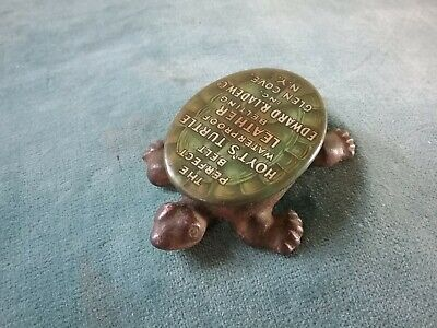 Vintage Cast Iron Turtle Figurine Paperweight Celluloid Top  Advertising