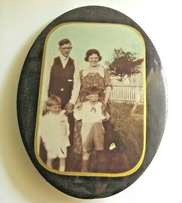 """ANTIQUE LAMINATED METAL TIN PICTURE Frame Standing Oval 7 3/4"""" Family WILD CHILD"""