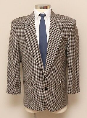 Mens 40R Zeidler Brown/Black/Tan Check 100% Wool Blazer