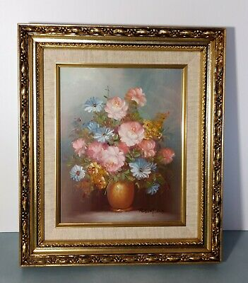 Robert Cox Signed Floral Oil Painting, Vase of Pink & Blue Flowers, Gold Frame