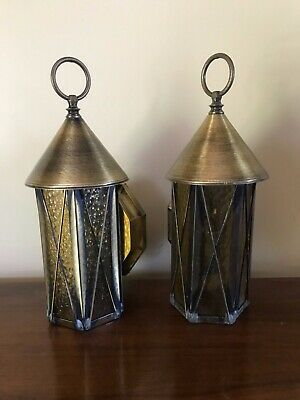 Vtg Pair Brass Outdoor Porch Light Fixtures Amber Pebbled Glass Sconce Lamps