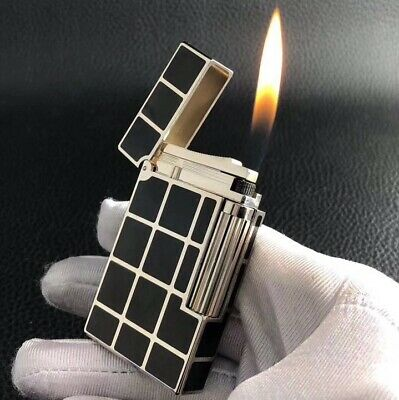 classic Memorial S.T ST Lighter Ping Sound Silver Black metal brushed cigarette