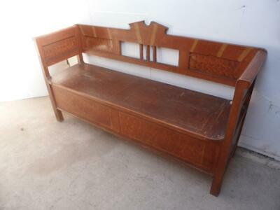 An Originally Painted Victorian Antique Old/Pine 3Seater Orange Box/Settle/Bench