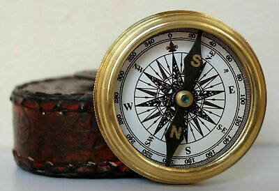 Antique Brass Vintage Nautical Stanley London Compass 1885 With Wooden Box Gift