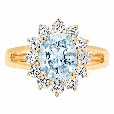 2.36 ct Oval Halo Blue Stone Classic Bridal Statement Ring Real 14k Yellow Gold
