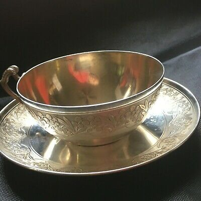 Antique 19th Century French Sterling Silver Teacup Coffee Cup Saucer Normal Size