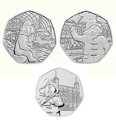 Set of 3 Paddington 50p-at The Palace,The Tower,The Station,UNC from sealed bags