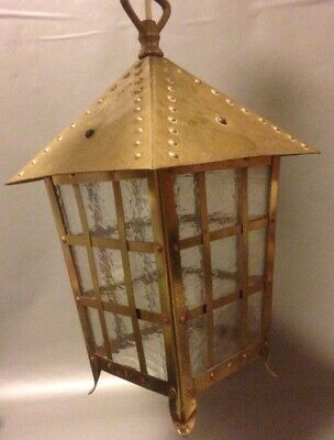 Vintage Art Deco/arts & Crafts Brass Porch Light Textured Glass Pendant